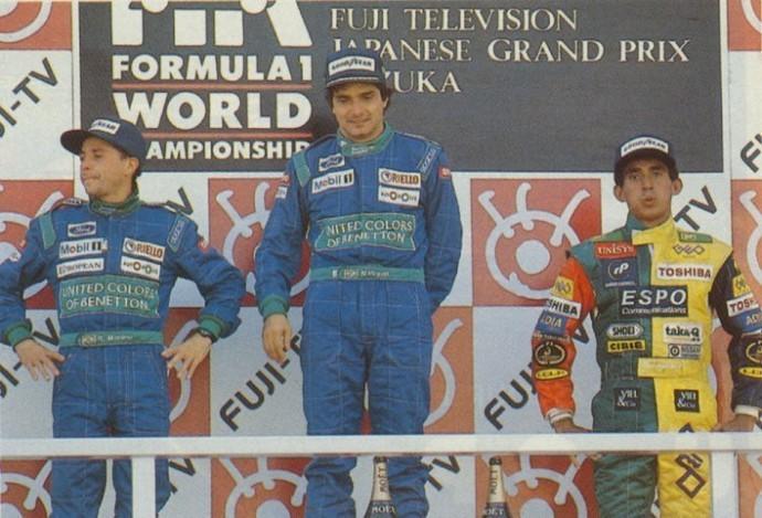 Nelson Piquet e Roberto Pupo Moreno no pódio do GP do Japão de 1990