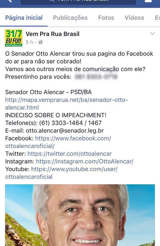Movimentos favoráveis ao impeachment divulgam contatos do senador Otto Alencar (PSD-BA) (Foto: Divulgação)