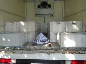 Cerca de 400 kg de queijo minas foram apreendidos pela PMR (Foto: Polícia Militar/Divulgação)