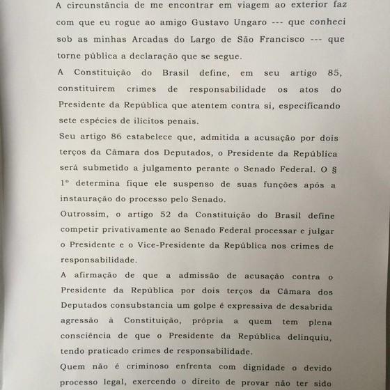 Trecho da carta de Eros Grau em defesa da legalidade do impeachment (Foto: Divulgação)