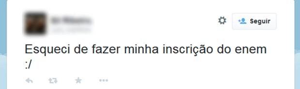Candidata lamenta no Twitter a perda do prazo do Enem 2015 (Foto: Reprodução/Twitter)