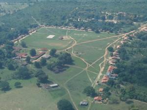 Vista aérea da aldeia Meruri, divulgada em blog oficial. (Foto: Meruri Digital)
