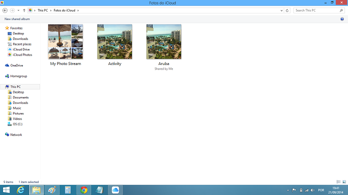 Fotos feitas com iPhone aparecerão no PC automaticamente (Foto: Reprodução/Aline Jesus)
