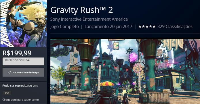 Gravity Rush 2: adicione o jogo ao carrinho e prossiga à etapa final de compra (Foto: Reprodução/Victor Teixeira)