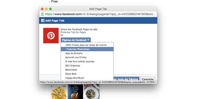 Escolha a Fan Page que irá receber o aplicativo (Foto: Reprodução/André Sugai)