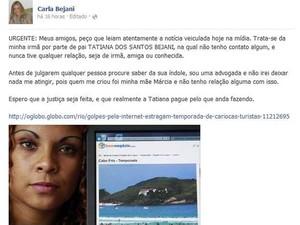 Pronunciamento Carla Bejani (Foto: Reprodução/Facebook)