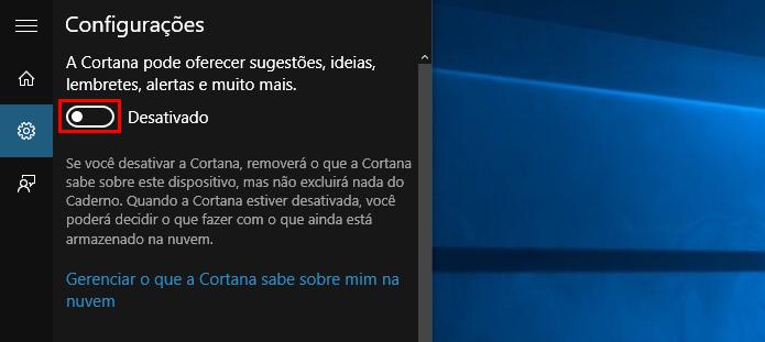 Ative a Cortana (Foto: Reprodução/Paulo Alves)