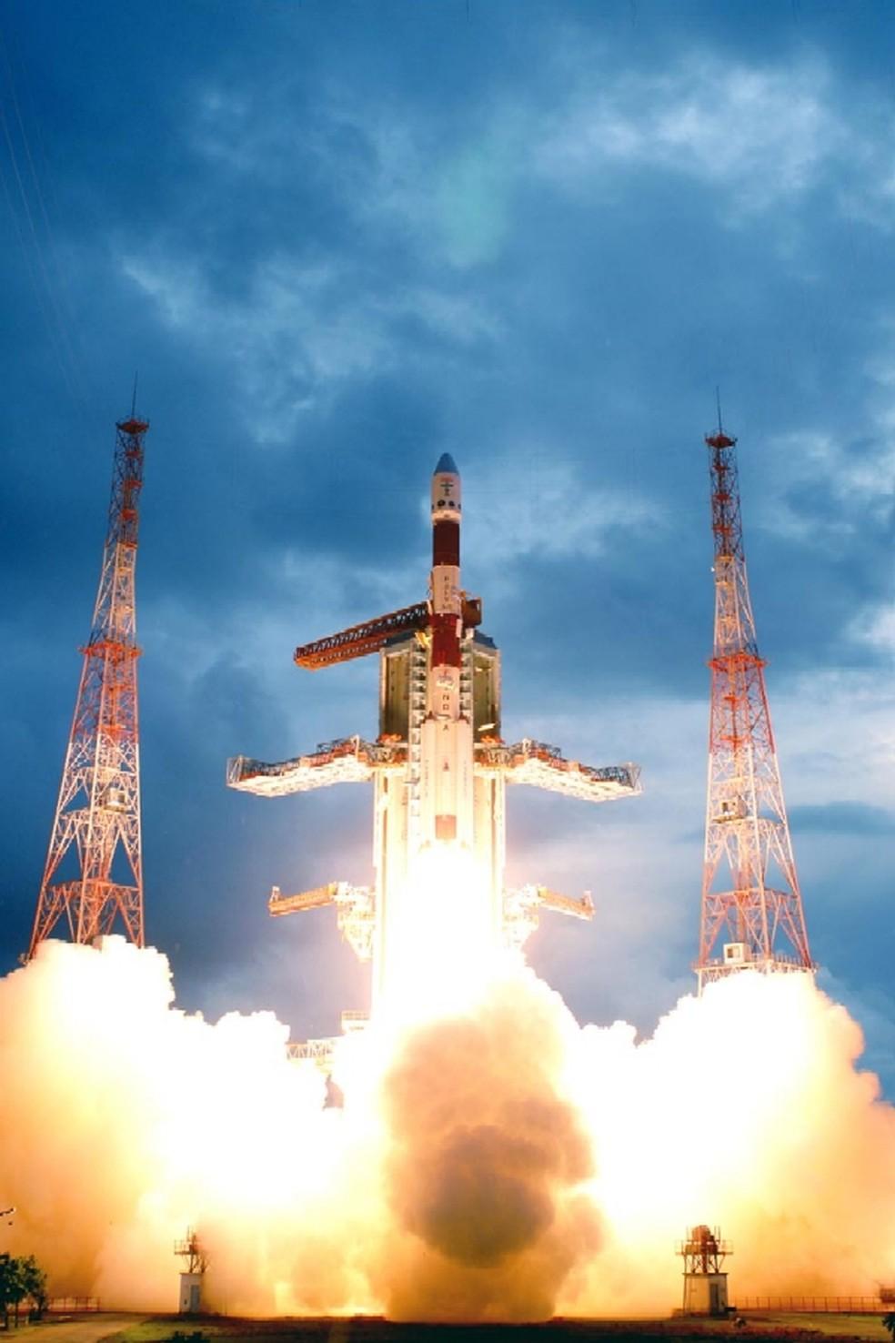 Foguete indiano que vai lançar a sonda, em 2020, o PSLV-C11, da Índia (Foto: ISRO)