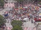 Manifestantes se reúnem no Centro de BH para protestar contra PEC 55