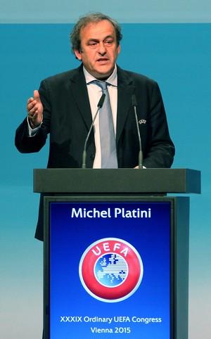 Michel Platini Congresso UEFA em Viena (Foto: AP)