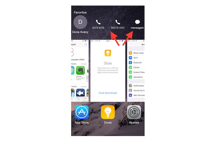 Iniciando uma ligação ou enviando uma mensagem para um contato favorito no iOS 8 (Foto: Reprodução/Marvin Costa)