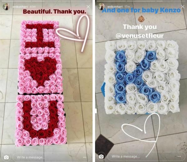 As rosas enviadas pelo ator Kevin Hart com a declaração de amor à esposa (Foto: Instagram)