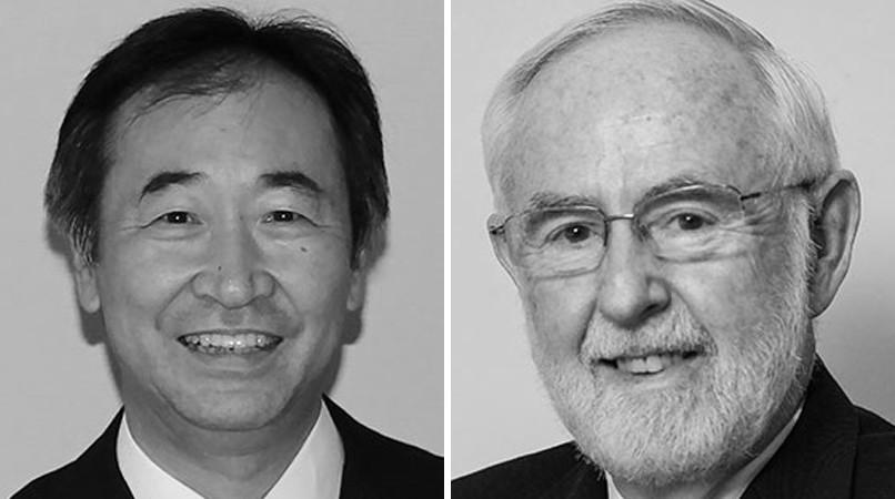Takaaki Kajita e Arthur McDonald, ganhadores de 2015 (Foto: Reprodução/Nobel)