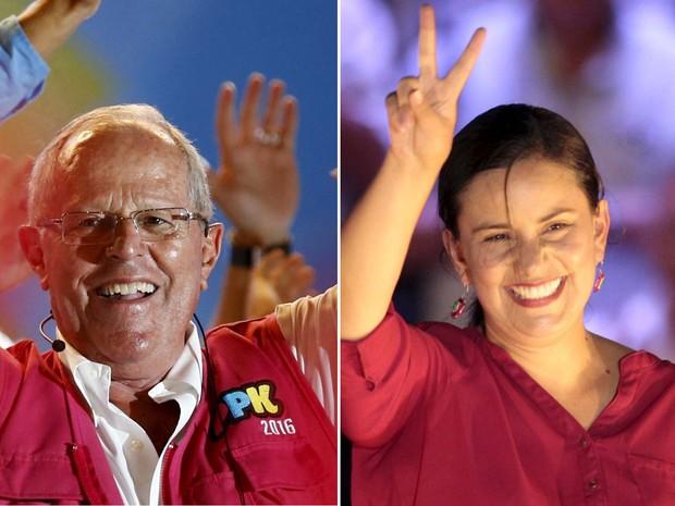 Pedro Kuczynski e Veronika Mendonza disputam o segundo lugar nas eleições presidenciais deste domingo (10) (Foto: REUTERS/Mariana Bazo/ Janine Costa )