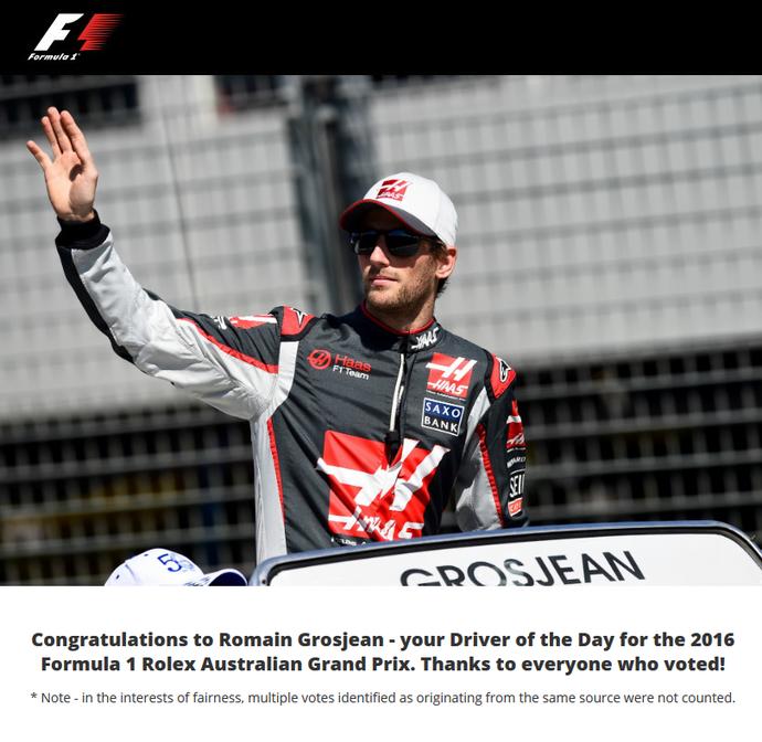 Grosjean é eleito o piloto do dia no GP da Austrália (Foto: Reprodução/ Twitter)