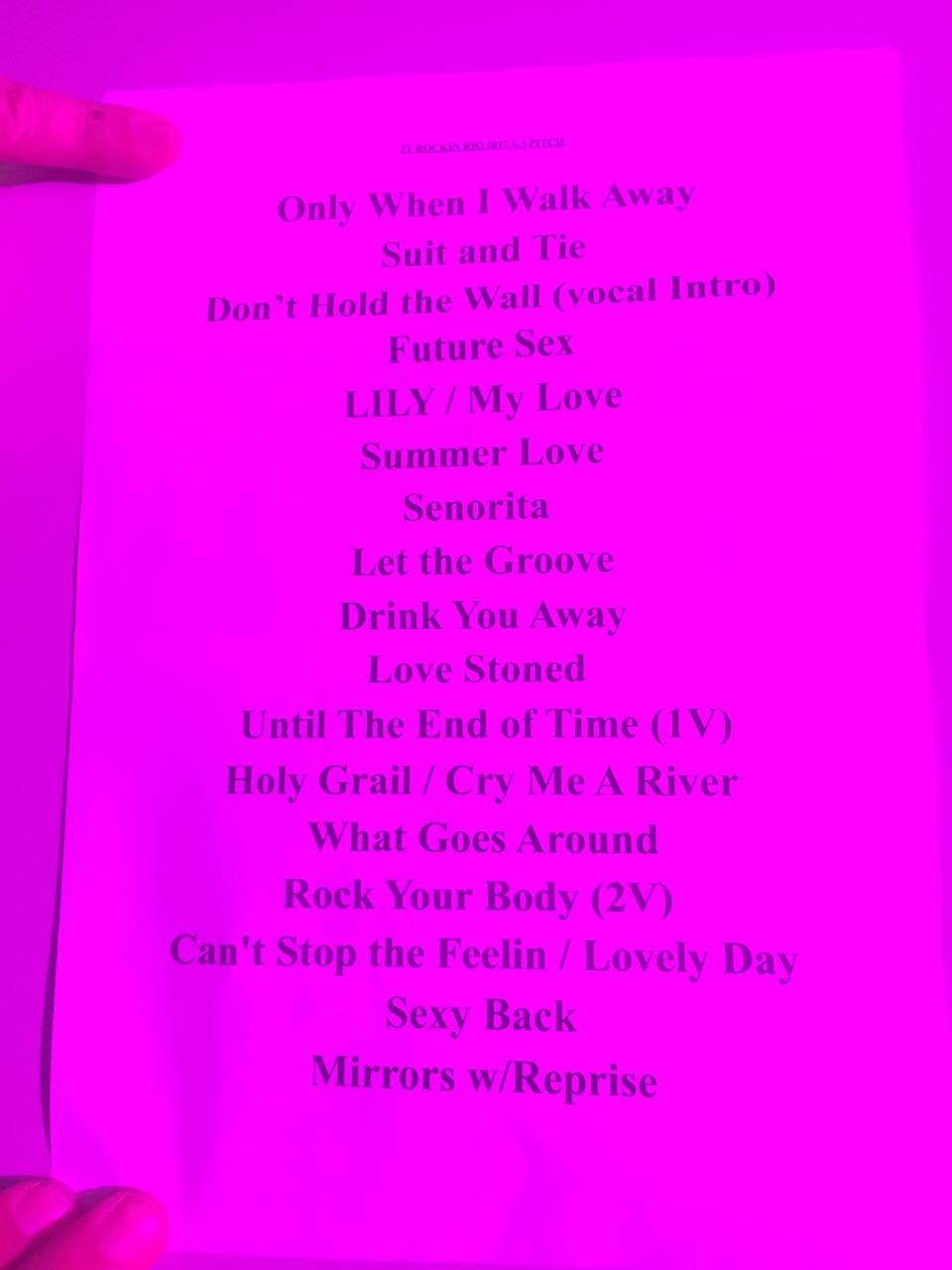 Justin setlist (Foto: Multishow)