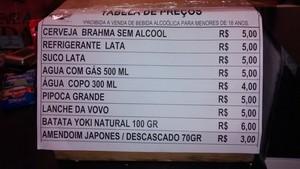 Preços produtos Arena Pantanal na partida Vasco x Santa Cruz (Foto: Robson Boamorte)