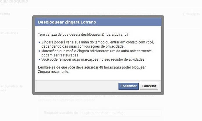 Confirme o desbloqueio do contato no Facebook (Foto: Reprodução/Barbara Mannara)