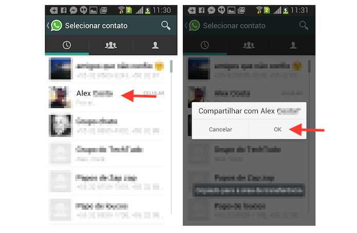 Compartilhando um vídeo do YouTube com um contato do WhatsApp através de um dispositivo Android (Foto: Reprodução/Marvin Costa)