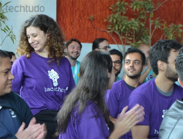 Aline Borges também veio ao evento e se apresentou antes de entrar na casa do BBB (Foto: Zingara Lofrano / TechTudo)