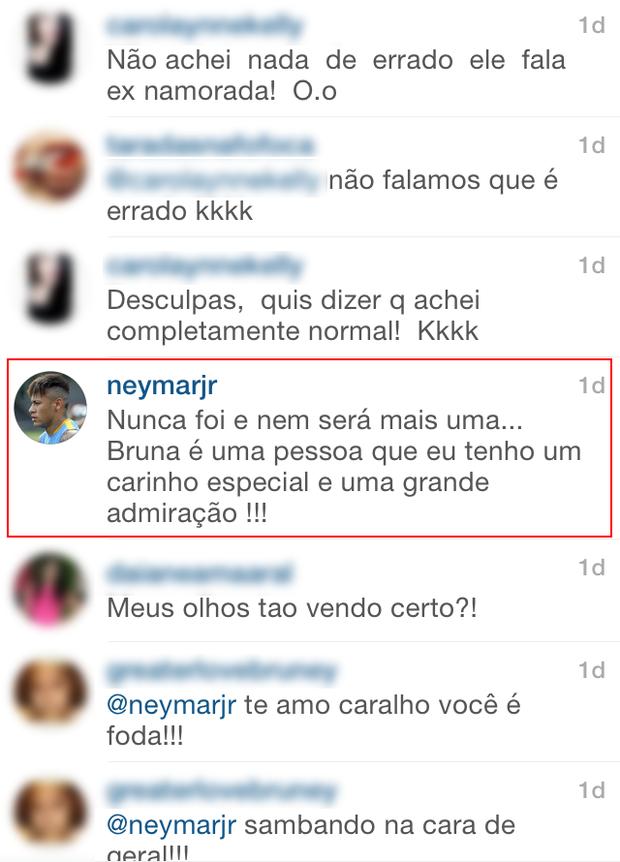 Comentário de Neymar  (Foto: Instagram / Reprodução)