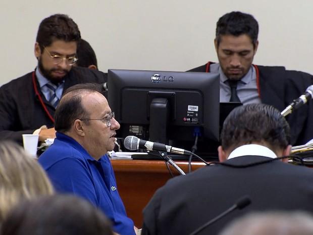 Empresário Hugo Pimenta presta depoimento durante júri popular do ex-prefeito Antério Mânica pela chacina de Unaí (Foto: Reprodução/TV Globo)