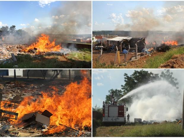 Bombeiros levaram cerca de uma hora e meia para conter chamas em Ecoponto, em São Carlos (Foto: Maurício Duch/Arquivo Pessoal)