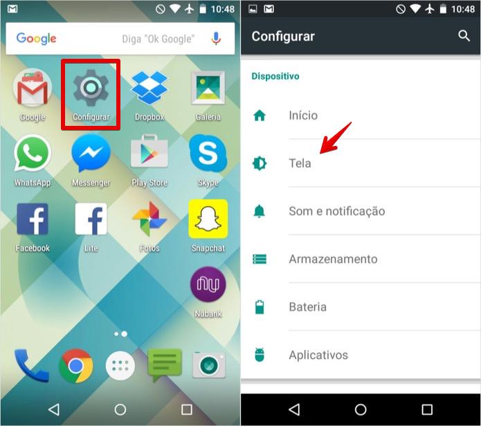 Acesse as configurações de tela do Android (Foto: Reprodução/Helito Bijora)