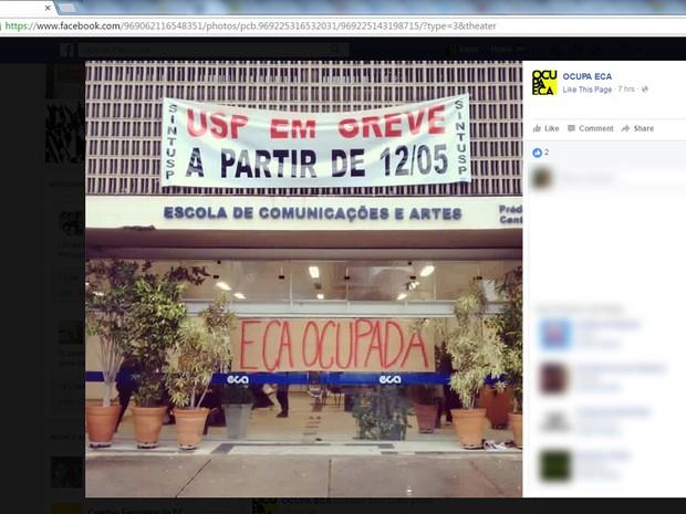 Alunos ocupam o prédio da Escola de Comunicações e Artes  (Foto: Reprodução/Facebook/OCUPA ECA)