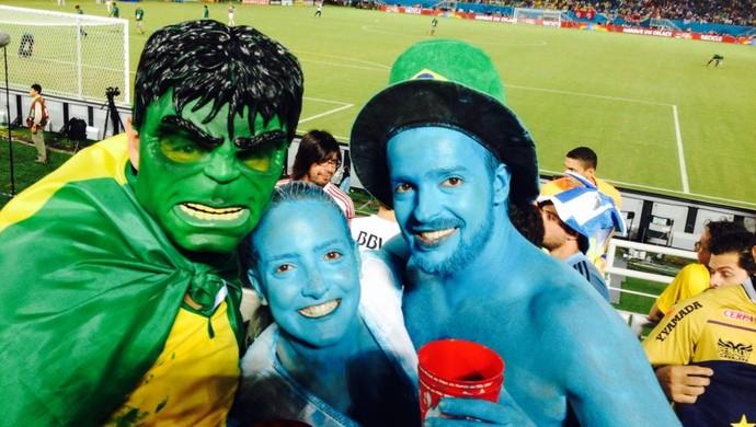 Marcelo Mourão, rondoniense, fantasiado de Hulk na Copa do Mundo (Foto: Marcelo Mourão/ Arquivo Pessoal)