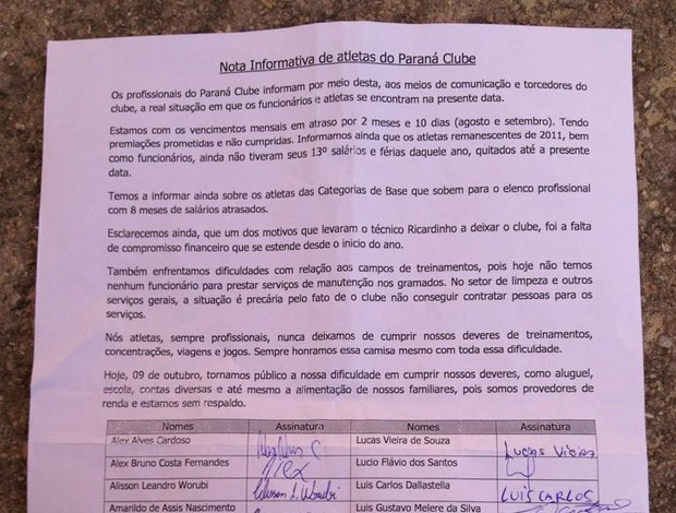 Comunicado de jogadores do Paraná CLube sobre salários atrasado (Foto: Lucas Rocha/Rádio 98 FM Curitiba)