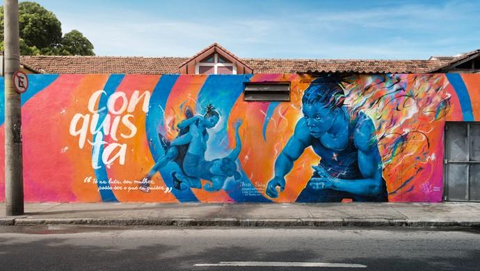 Joice Silva luta olímpica grafite Rio 2016 (Foto: Divulgação)