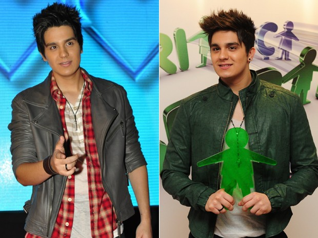 Luan Santana em dezembro de 2011 e em agosto de 2012 (Foto: Divulga&#231;&#227;o/TV Globo)