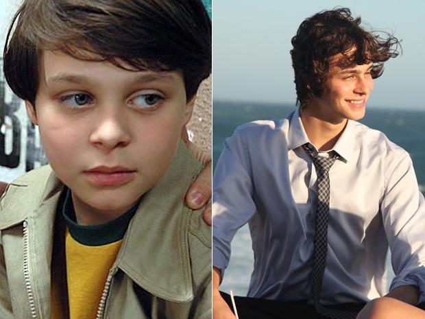 Olha como ele cresceu! Michel em cena do filme 'O ano em que meus pais saíram de férias' e agora em gravação da Malhação (Foto: Divulgação/Carol Caminha/Gshow)