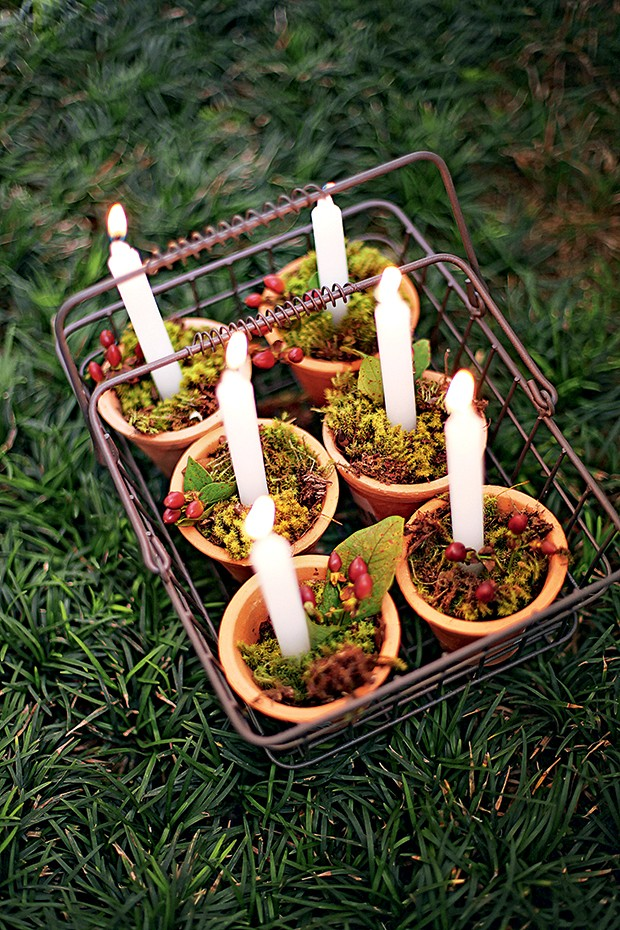 Na cesta, os vasinhos com vela, musgo e impérico vão para qualquer lugar (Foto: Rogério Voltan)