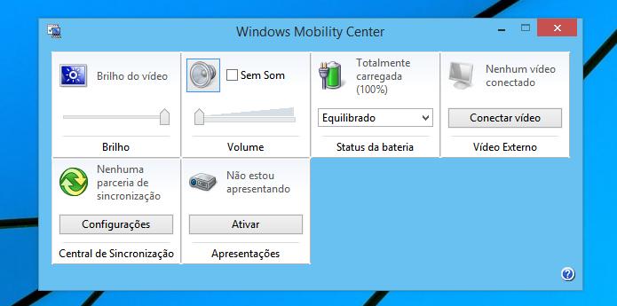 Windows Mobility Center (Foto: Reprodução/Helito Bijora)