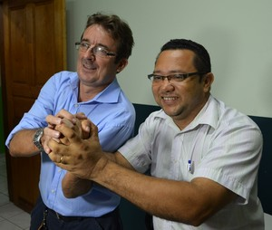 Celso Garcia, presidente da Amax, e João Carlos Passos, presidente do Alto Acre (Foto: Duaine Rodrigues)