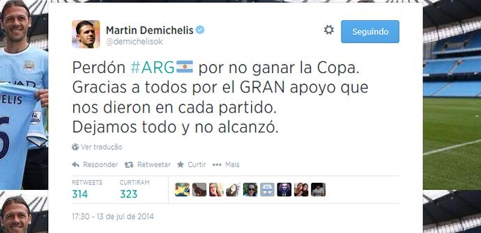 Demichelis pede perdão aos argentinos pelo Twitter (Foto: Reprodução/Twitter)
