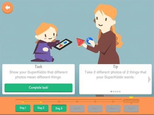Aplicativo Superspeak conta com uma interface amigável com imagens familiares para as crianças (Foto: Reprodução/Superspeak)
