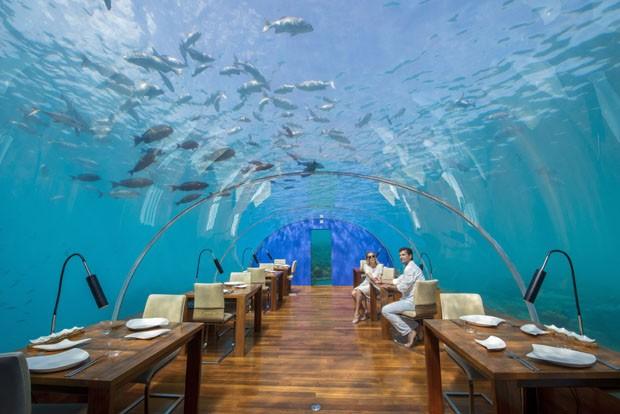 Maldives, Rangali Island. Conrad Hilton Resort. Couple in Ithaa underwater restaurant (MR). (Foto:  )