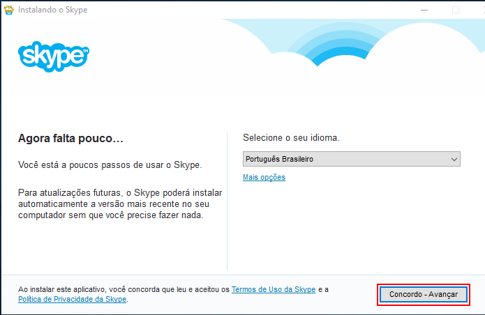 Concordando com os termos de uso do Skype (Foto: Reprodução/Edivaldo Brito)