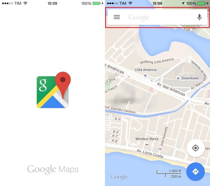 Abra o Google Maps e clique na caixa superior (Foto: Reprodução/Juliana Pixinine)
