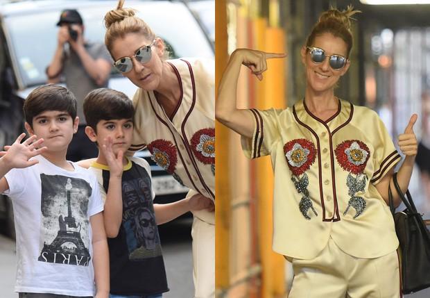 Pura simpatia! Céline Dion faz graça em tarde com os filhos gêmeos