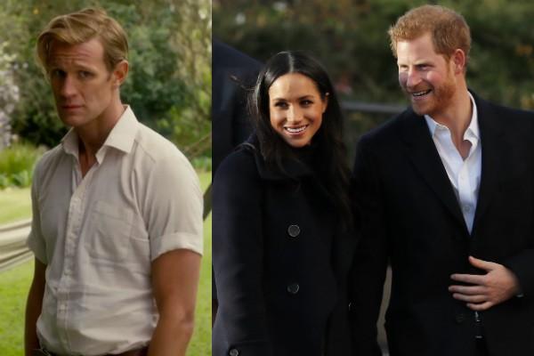 O ator Matt Smith no papel do Príncipe Philip e a atriz Meghan Markle com seu noivo, o Príncipe Harry (Foto: Reprodução/Getty Images)