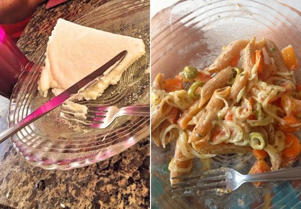 Hallini aprendeu novas receitas desde que mudou hábitos alimentares; na foto, tapioca e macarrão com legumes (Foto: Hallini Rotondo/Arquivo pessoal)