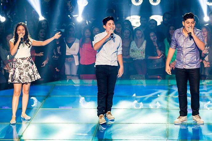 Ana Rosa, Gabriel Lins e João Vitor na primeira Batalha do The Voice Kids (Foto: Isabella Pinheiro/Gshow)