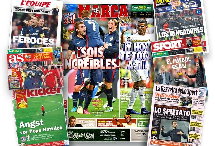 Imprensa europeia exalta a vitória do Atlético de Madrid (Foto: Editoria de arte / GloboEsporte.com)