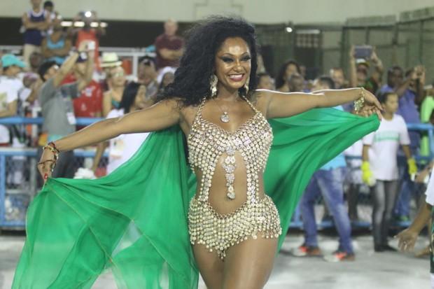 Camila Silva no ensaio técnico da Mocidade na Marquês de Sapucaí, no Rio (Foto: Daniel Pinheiro/AgNews)
