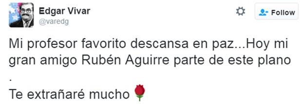 Edgar Vivar, o Senhor Barriga, comenta a morte  de Rúben Aguirre, o professor Girafales (Foto: Reprodução / Twitter)