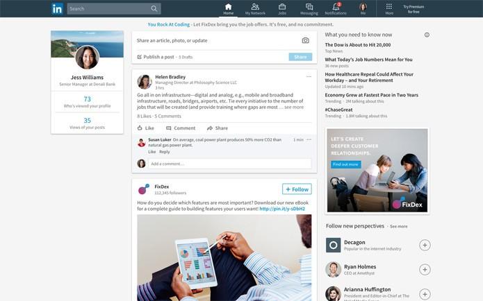 Linkedin está com feed totalmente novo (Foto: Divulgação/Linkedin)